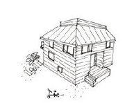 小さな木の家に住む。