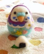 小鳥の羊毛フェルト絵 アトリエCaraway