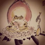 カエル菩薩の水墨画教室