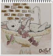 チョークアート時々羊毛フエルト「銀のステッキ」