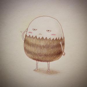 きぬかつぎの食道楽と色鉛筆画