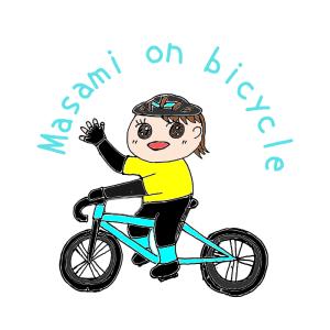 Masami on bicycle