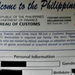 新しい?フィリピンの税関申告書が見つかったので掲載-私の理解が間違いなのか?-