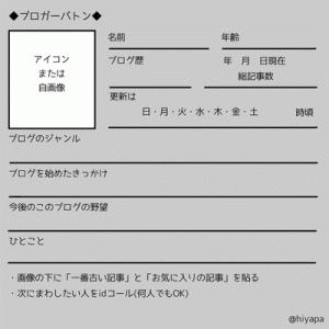 ◆ブロガーバトン◆(自己紹介シート)