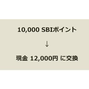 10,000SBIポイントを現金12,000円と交換した