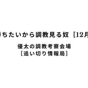 【新馬戦で勝ちたいから調教見る奴[12月8日(日)]】