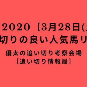 【平場 2020[3月28日(土)]】追い切りの良い人気馬リスト