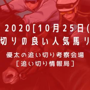【平場 2020[10月25日(日)]】追い切りの良い人気馬リスト