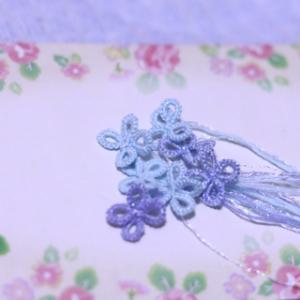 タティングレースの作り方で紫陽花を作ろうと〜🎶