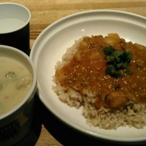 スープストックトーキョー 『女川産さんまのキーマカレー、北海道産とうもろこしと鶏肉のシチュー』