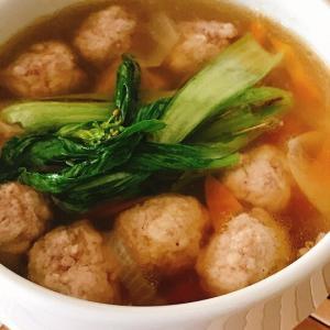 鶏団子の野菜スープ・夏にポカポカ生姜