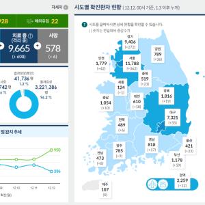 2020年12月現在の韓国の新型コロナウイルス感染症(covid19)発生状況