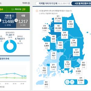 2021年1月現在の韓国の新型コロナウイルス感染症(covid19)発生状況