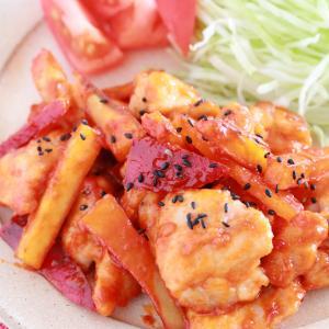 鶏とサツマイモの甘辛トッポギ風