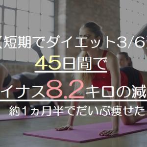 【短期でダイエット3/6】45日間でマイナス8.2キロの減量!約1ヵ月半でだいぶ痩せた