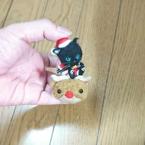 サンタのコスプレ黒猫ちゃん🙂