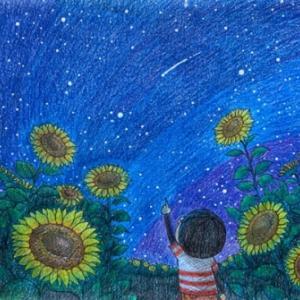 空想遠足シリーズ_14 「ひまわりと一緒に星空を見上げる」