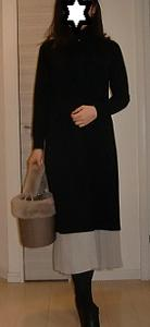 GUタートルネックニットワンピースとスカートの重ね着コーデ色々ご紹介