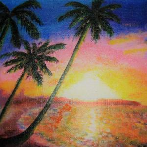 希望 海辺の朝日は、美しい色に変化する