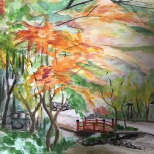 万葉公園の紅葉を描く