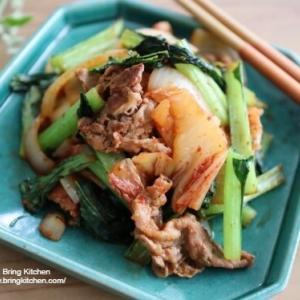 【レシピ】ターサイと牛肉のキムチ炒め