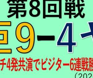 vsヤクルト(第8回戦)~豪快アーチ4発共演でビジター6連戦勝ち越し!(2020.0726)