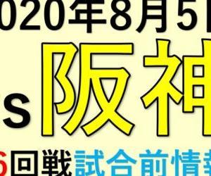2020年8月5日vs阪神(第6回戦)試合前情報!