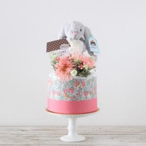 【おむつケーキ】ジェリーキャット うさぎのぬいぐるみ付き ダイパーケーキ Bashful Snow Bunny small (Pink)