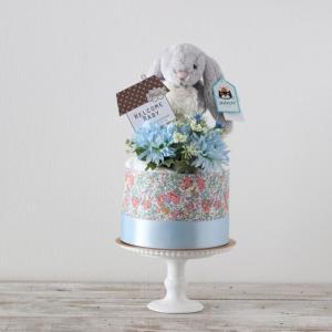 【おむつケーキ】ジェリーキャット うさぎのぬいぐるみ付き ダイパーケーキ Bashful Snow Bunny small (Blue)