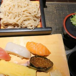 青葉区一番町・山の猿で「寿司そば御膳」//真っ黒な個室で食べるが一人客では寂しいなぁ。(ランパス利用)