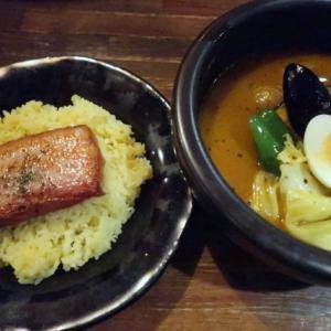 青葉区一番町・Kanakoのスープカレー屋さんで「厚切りベーコンライス&プラッシー」//北海道の野菜はデッカイドー。(ランパス仙台利用)