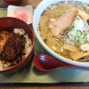 石巻市相野谷・食堂きかくで「サバだしラーメン+ソースカツ丼」//井之頭五郎さんも絶賛。レトロ感溢れる昭和食堂。
