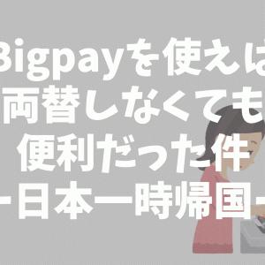Bigpayを使えば両替しなくても便利だった件ー日本一時帰国ー
