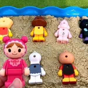 アンパンマン おもちゃ アニメ すなあそび❤️この形はだれのおかおかな?形合わせクイズ♪知育