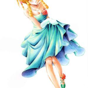 ターコイズブルーのドレス