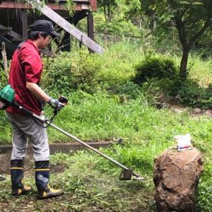 GWで伸びきった草を刈る!刈払機のスーモ!
