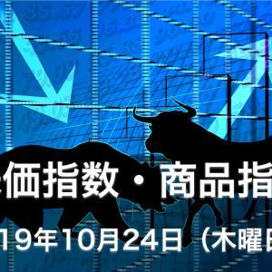 本日の株式市場の株価指数・商品指数の値動き動向-2019年10月24日-