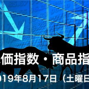 本日の株式市場の株価指数・商品指数の値動き動向-2019年8月17日-