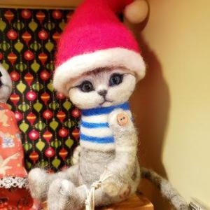 🎄羊毛フェルトのクリスマス猫をメインに参加🎄  #エズ村のクリスマス展