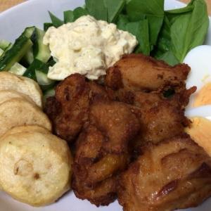 今朝のご飯も「鶏唐」、あとは「おからご飯」