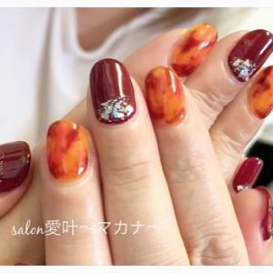 ☆ジェルネイル☆ 〜ボルドーとべっ甲で秋ネイル♪〜