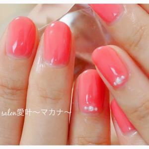 ☆ジェルネイル☆ 〜オレンジピンクとパールネイル♪〜