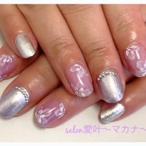 ☆ジェルネイル☆〜紫 お花!浴衣に合わせて♪〜
