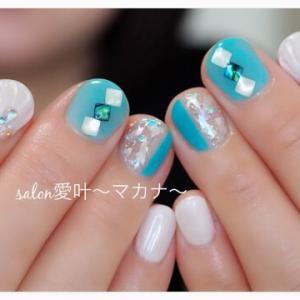 ☆モデルさんネイル☆ 〜ターコイズカラーで夏♪〜
