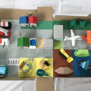 折り紙と箱を使った街作り【小学1年生の自由研究】