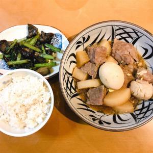 牛肉と大根の煮物と、茄子と小松菜の煮浸し