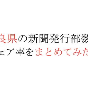 【2020年版】奈良県の新聞発行部数とシェア率をまとめてみたよ。
