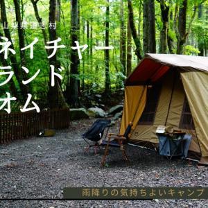 ①【山梨県道志村キャンプ場レポ】雨降りキャンプのネイチャーランドオム