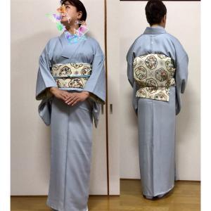 襷菱一つ紋付の色無地に相良刺繍の袋帯でお茶会へ