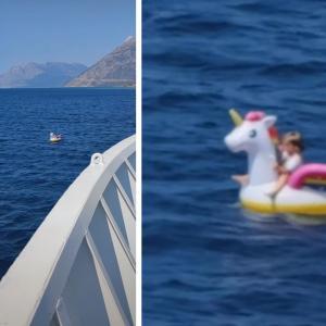 大ピンチ!ユニコーンの浮き輪に乗ったまま海に流されてしまった少女の救出劇